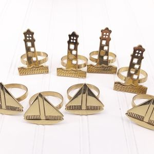 Other - Brass Lighthouse Sailboat Napkin Rings Nautical